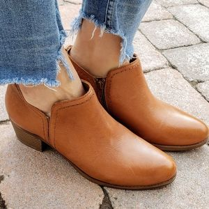 Naturalizer Cognac Leather Zarie Ankle Boots 8.5
